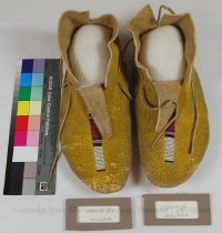 Image of 11310-11-(1-2) - Moccasins; Leather; Beaded; Crow