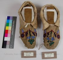 Image of 11310-13-(1-2) - Moccasins; Leather; Beaded; Floral; Crow