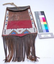 Image of 11310-17 - Bag, Beaded; With Flap; Fringed; Red; Leather