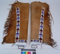 Image of 11385-4-(1-2) - Leggings, Pair; Leather; Woven Beadwork; Floral