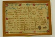 Image of 11435-2 - Sampler, Family Register; Framed, Hamblin Family