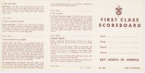 Image of 11546-30 - Scorecard; Boy Scouts; First Class