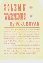 Image of 11557-5 - Handbill, Political; William Jennings Bryan