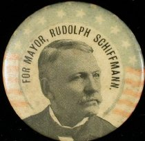 Image of 11571-14 - Button, for Mayor, Rudolph Schiffmann; Portrait Photograph, U.S. Flag