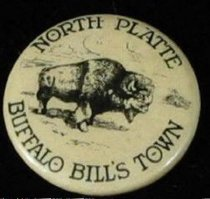 Image of 11571-53 - Button, Booster, North Platte Buffalo Bills Town; Buffalo in Center