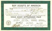 Image of 11639-30 - Certificate, Boy Scout Merit Badge; Bronze Palm, 1933/12/07, Arthur L. Smith Jr.