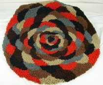 Image of 11640-250 - Rug, Red, Brown, and Gray Hooked Rug