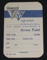 Image of 11640-308 - Badge, Cub Scout Arrow Point, Silver, On Card