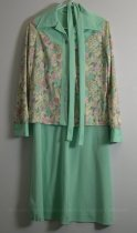 Image of 11640-508 - Dress, Aqua with Matching Floral Jacket