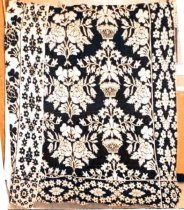 Image of 11678-2 - Coverlet, Hand Woven; Floral Pattern