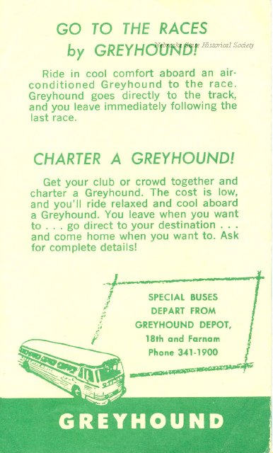 11744-50 - Schedule, Greyhound Bus, Race Specials from Omaha