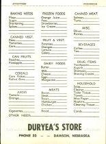 Image of 11893-2 - Pad, Note; Grocery Checklist, Duryeas Store, Dawson, NE