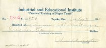"""Image of 11940-1-(54) - Receipt from Industrial and Educational Institute:  """"Practical Training of Negro Youth."""""""