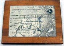 Image of 11994-9 - Plaquard with Metal Engraved Pilots License for Hollis Dawes Stabler