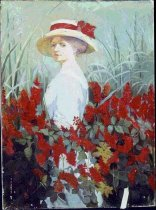Image of 874P-1 - Painting, Woman in Garden, Oil; Dolan, Elizabeth