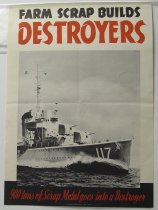 "Image of 13000-2560 - Poster, World War Two, ""Farm Scrap Builds Destroyers"""