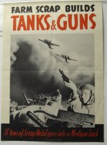 "Image of 13000-2561 - Poster, World War Two, ""Farm Scrap Builds Tanks and Guns"""