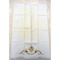Image of 13004-2 - Embroidered Pillowcase with Orange and Yellow Flowers