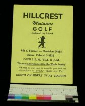 Image of 13041-20 - Scorecard, Miniature Golf, Hillcrest