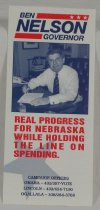 Image of 13078-28 - Card, Political, Ben Nelson, Governor, Real Progress for Nebraska While Holding the Lne on Spending
