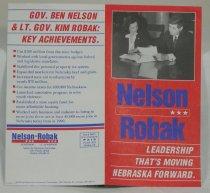 Image of 13078-29 - Booklet, Political, Ben Nelson for Governor, Nelson/Robak, Leadership That's Moving Nebraska Forward