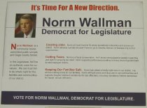 "Image of 13082-14 - Handbill, Political, Norm Wallman for Legislature, President George W. Bush on one side with ""Had Enough"""