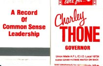 Image of 13117-5 - Matchbook,  Charley Thone Governor