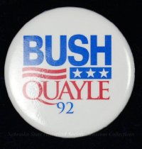 Image of 13120-100 - Button, Political, George H.W. Bush, bush Quayle 92