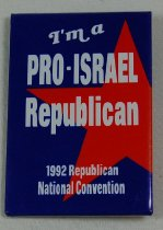 Image of 13120-153 - Button, Political, I'm a Pro Israel Republican, 1992 Republican National Convetion