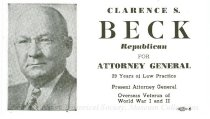 Image of 13134-31 - Card, Political, Clarence S. Beck for Attorney General