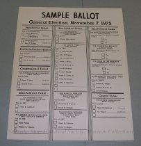 Image of 13143-148 - Ballot, Sample, President, Senator, Congressional, Non-Political, and County Tickets
