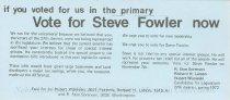 Image of 13143-69-(3) - Flyer, Steve Fowler for Legislature