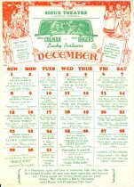 Image of 13189-2 - Calendar, Sioux Theater, Crawford, December 1940