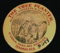 Image of 3099 - Badge, Old Settlers, Tekamah, Aug. 22, 1908; Includes Ribbon and Button