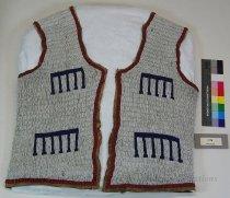 Image of 3178 - Vest, Leather; Adult; Beaded, Geometric
