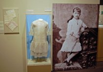 Image of 3560-673 - Dress, White, Embroidered Net Inserts & Flounces; Cotton and Net