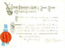 Image of 3801-112 - Invitation, Graduation; William Jennings Bryan; Union College of Law