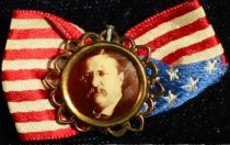 Image of 4008-46 - Pin, T. Roosevelt; Pin on Ribbon, Picture on Flag