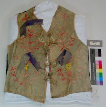 Image of 4364-214 - Vest, Leather; Adult; Quill; Floral; Velveteen; Adult