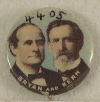 "Image of 4405 - Button, Political; William Jennings Bryan/Kern; Jugate, ""Bryan and Kern"""