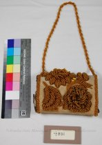 Image of 4831 - Pincushion, Beaded Bag, Gold, Velvet