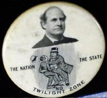 """Image of 6041-85 - Button, Political; William Jennings Bryan; """"No Twilight Zone"""""""