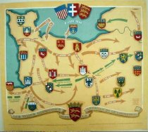 Image of 7144-159 - Poster, World War II, Map of Normandy, France, and Invasion Armies