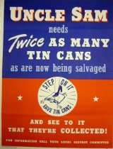 "Image of 7294-967-(1) - Poster, World War II, ""Uncle Sam Needs Twice As Many Tin Cans"""