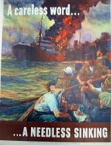 """Image of 7294-975 - Poster, World War II, """"A careless world...A Needless Sinking"""""""