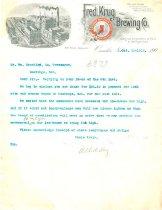 Image of 7294-7241 - Letterhead; Fred Krug Brewery, Omaha, 1902