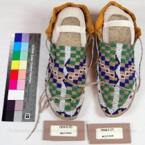 Image of 7898-5-(1-2) - Moccasins; Leather; Beaded; Sioux; Checkerboards