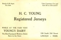Image of 7956-1840 - Card, H.C. Young Registered Jerseys