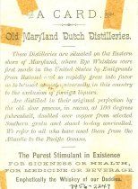 Image of 7956-2247 - Card, Trade, Old Maryland Dutch Distilleries
