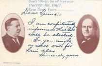 """Image of 7956-6090 - Postcard; William Jennings Bryan and William Howard Taft; """"Hurrah for Bill"""""""